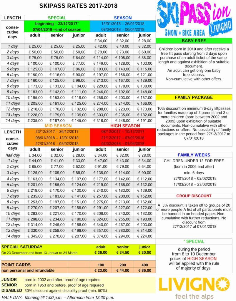 Livigno - ceny skipasu 2017/2018